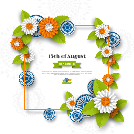 Indian Independence day holiday design. 3d wheels, frame and flowers with leaves in traditional tricolor of indian flag. Paper cut style. White background. Vector illustration.