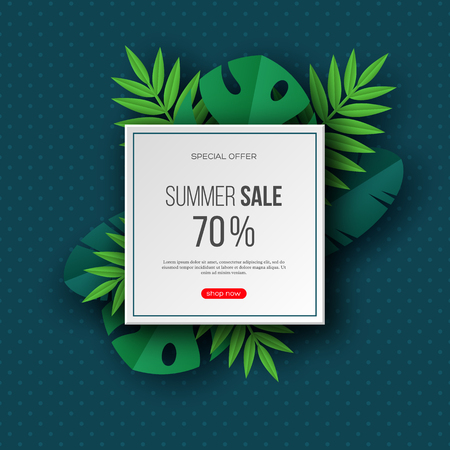 Summer sale banners with exotic jungle tropical palm leaves. Dark turquoise dotted background - template for seasonal discounts. Vector illustration.