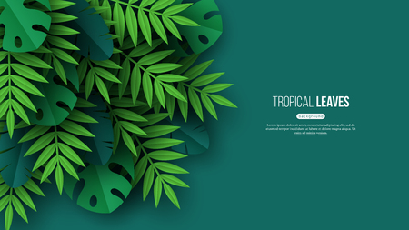 Exotic jungle tropical palm leaves. Summer floral design with green color background. Vector illustration. Vettoriali