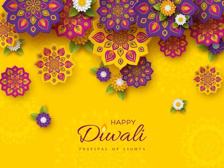 Diseño de vacaciones del festival de Diwali con estilo de corte de papel de Rangoli indio y flores. Colores violetas, violetas sobre fondo amarillo. Ilustración vectorial.