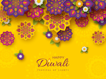 Diwali festival holiday design with paper cut style of Indian Rangoli and flowers. Purple, violet colors on yellow background. Vector illustration. Stock Illustratie