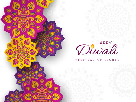 Diwali festival holiday design with paper cut style of Indian Rangoli. Purple, violet, yellow color on white background. Vector illustration. Stock Illustratie