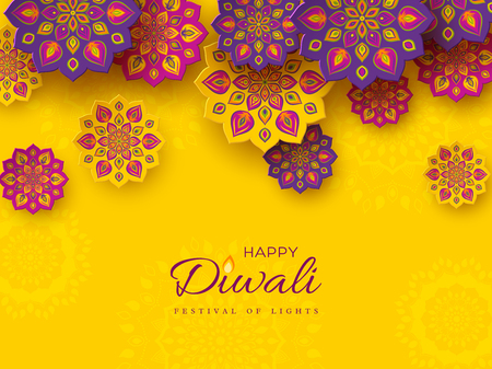 Diwali festival holiday design with paper cut style of Indian Rangoli. Purple, violet color on yellow background. Vector illustration. Ilustracja