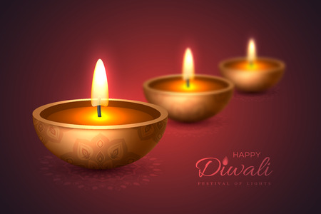 Diwali diya - oil lamp. Holiday design for traditional Indian festival of lights. 3D realistic style with blur effect on rangoli purple background. Vector illustration.