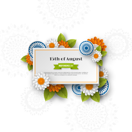 Indian Independence day banner. 3d wheels with flowers in traditional tricolor of indian flag. Paper cut style. White background. Vector illustration.