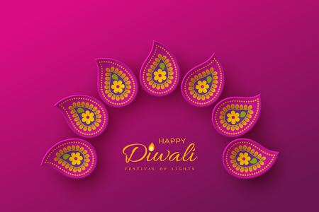 Diwali festival holiday design with paper cut style of Indian Rangoli. Purple color background. Vector illustration. 矢量图像