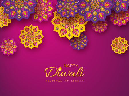 Diwali festival holiday design with paper cut style of Indian Rangoli. Purple color background. Vector illustration. Stockfoto