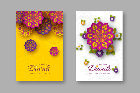 Diwali festival holiday posters with paper cut style of Indian Rangoli and flowers. Purple, violet colors on white and yellow background. Vector illustration.  イラスト・ベクター素材