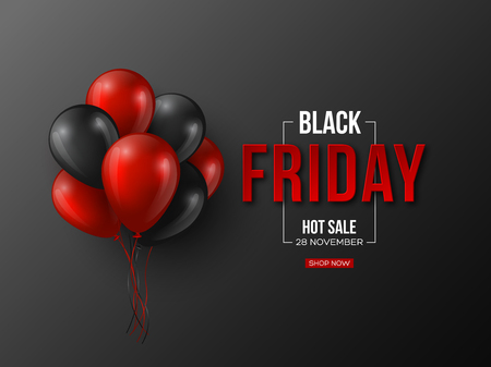 Black Friday sale typographic design. 3d stylized red color letters with glossy balloons. Black background. Vector illustration. Фото со стока - 106355908
