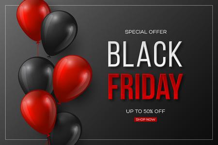 Typografisches Design des Black Friday-Verkaufs. 3d stilisierte rote Farbbuchstaben mit glänzenden Luftballons. Schwarzer Hintergrund. Vektorillustration.