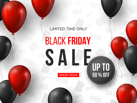 Black Friday sale banner. 3d red and black realistic glossy balloons with text and discount tag. White pattern background. Vector illustration.
