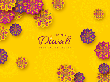 Diwali festival holiday design with paper cut style of Indian Rangoli. Purple, violet color on yellow background. Vector illustration. Stock Illustratie
