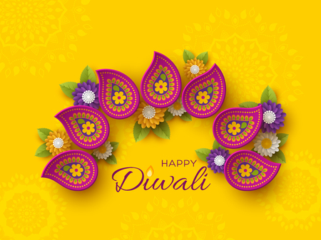 Diwali festival holiday design with paper cut style of Indian Rangoli and flowers. Purple color on yellow background. Vector illustration.