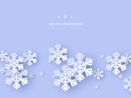 Christmas holiday design with paper cut style snowflakes. Blue background with greeting text. Vector illustration.