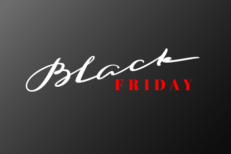 Black Friday lettering. Hand drawn calligraphy with black background for banners, flyers, labels. Vector illustration. Illustration