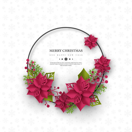 Christmas holiday banner. 3d paper cut style poinsettia with leaves. White background with round frame and greeting text. Vector illustration