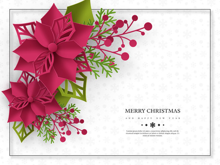 Christmas holiday banner. 3d paper cut style poinsettia with leaves. White background with frame and greeting text. Vector illustration