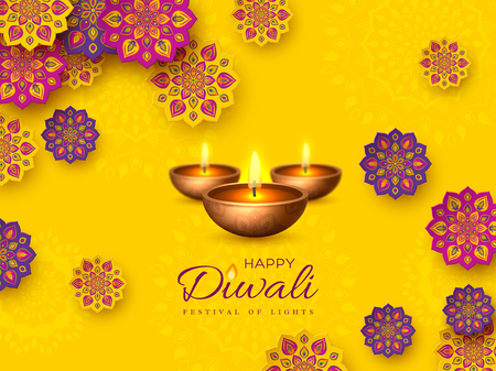 Diwali festival holiday design with paper cut style of Indian Rangoli and diya - oil lamp. Purple color on yellow background. Vector illustration.
