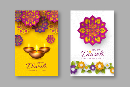 Diwali festival holiday posters with paper cut style of Indian Rangoli, flowers and diya - oil lamp. Yellow and white color background. Vector illustration. Ilustração