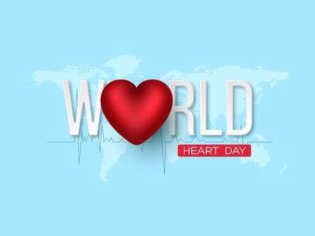 World heart day concept. 3d red heart with white letters on blue map background. Vector illustration.