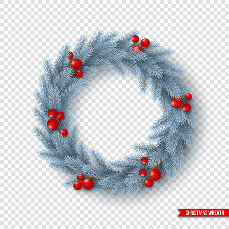 Christmas wreath with realistic fir-tree branches and berries. Decorative design element for holiday posters, flyers, banners. Isolated on transparent background. Vector illustration.