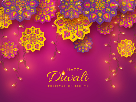 Diwali festival holiday design with paper cut style of Indian Rangoli and garlands. Purple color background. Vector illustration.