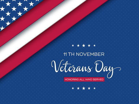 Veterans Day greeting card. 3d layered effect of american flag with greeting text on dotted background. Vector illustration.