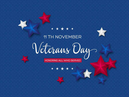 Veterans Day greeting card. 3d stars colors of american flag with greeting text on dotted background. Vector illustration.