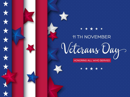 Veterans Day greeting card. 3d stars colors of american flag with greeting text on dotted background. Vector illustration. Ilustrace
