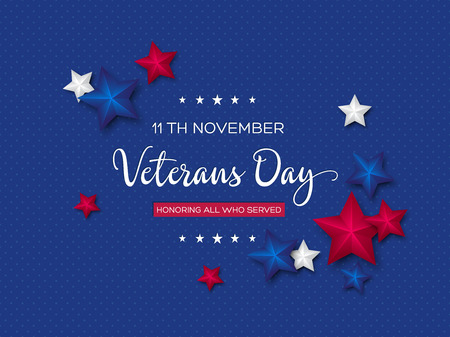 Veterans Day greeting card. 3d stars colors of american flag with greeting text on dotted background. Vector illustration. Illustration