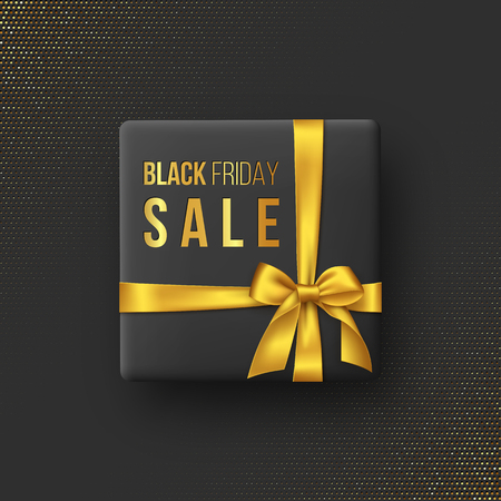 Black Friday sale poster or banner. Luxury design with box and realistic golden silk bow on dotted background. Concept for seasonal discounts. Vector illustration.