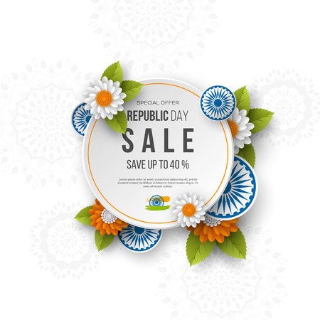 Indian Republic day sale round banner. 3d wheels with flowers in traditional tricolor of indian flag. Paper cut style. White background. Vector illustration. Illustration