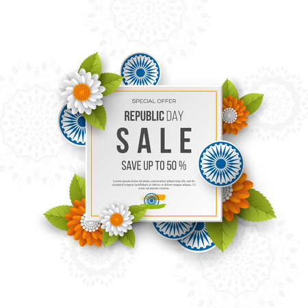 Indian Republic day sale square banner. 3d wheels with flowers in traditional tricolor of indian flag. Paper cut style. White background. Vector illustration. Illustration