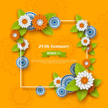 Indian Republic day holiday design. 3d wheels, flowers with leaves and frame in traditional tricolor of Indian flag. Paper cut style. Orange background. Vector illustration.