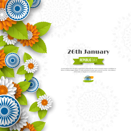 Indian Republic day holiday design. 3d wheels, flowers with leaves in traditional tricolor of Indian flag. Paper cut style. White background. Vector illustration. Illustration