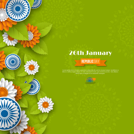 Indian Republic day holiday design. 3d wheels, flowers with leaves in traditional tricolor of Indian flag. Paper cut style. Green background. Vector illustration.
