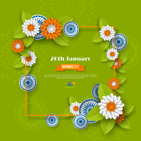 Indian Republic day holiday design. 3d wheels, flowers with leaves and frame in traditional tricolor of Indian flag. Paper cut style. Green background. Vector illustration. Illustration
