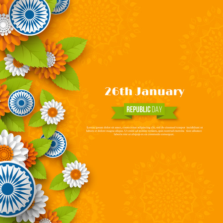 Indian Republic day holiday design. 3d wheels, flowers with leaves in traditional tricolor of Indian flag. Paper cut style. Orange background. Vector illustration. Illustration