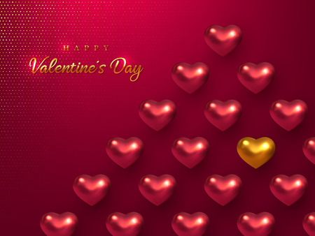 Valentines day holiday horizontal banner. 3d metallic glossy hearts with greeting golden text on vinous glitter dotted background. Vector illustration. Ilustração