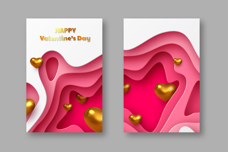 Valentines day holiday posters or banners. Paper cut style layered background with metallic golden hearts and greeting text. Vector.