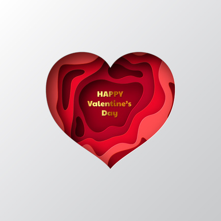 Valentines day holiday greeting card. 3d paper cut heart with layered, carving shapes in red colors. Vector illustration.
