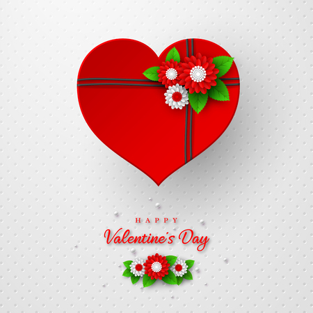 Valentines day holiday design. 3d paper cut red heart with flowers on spotted white background. Vector illustration.