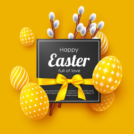 Easter holiday greeting card. 3d decorative eggs with bow and willow branches. Yellow background. Vector illustration.