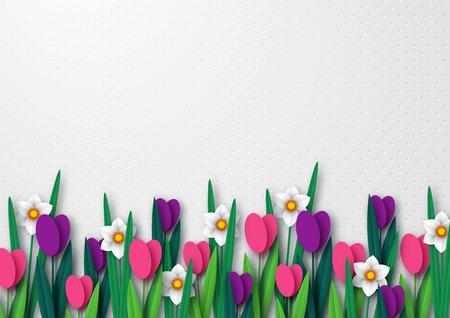 Plantilla vacía de primavera para el diseño de vacaciones de temporada, carteles, saludos, tarjetas. Papel cortado flores tulipanes y narcisos. Copie el espacio. Ilustración vectorial.