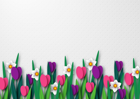 Spring empty template for seasonal holiday design, posters, greetings, cards. Paper cut flowers tulips and narcissus. Copy space. Vector illustration. Illustration