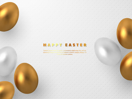 Decorative Easter concept. 3d metallic golden and white eggs on white spotted background. Vector illustration.