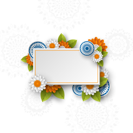 Rectangle banner for Indian holidays. 3d wheels with flowers in traditional tricolor of indian flag. Paper cut style. White background. Vector illustration.