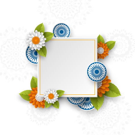 Square banner for Indian holidays. 3d wheels with flowers in traditional tricolor of indian flag. Paper cut style. White background. Vector illustration.