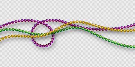 Mardi Gras beads in traditional colors. Decorative glossy realistic elements. Isolated on transparent background.Vector illustration Иллюстрация