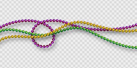Mardi Gras kralen in traditionele kleuren. Decoratieve glanzende realistische elementen. Geïsoleerd op transparante achtergrond. Vectorillustratie